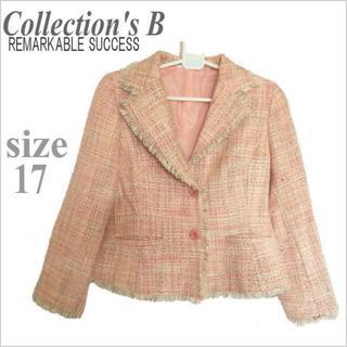 大きいサイズ*Collection's B*ピンクミックスツイード調ジャケット(テーラードジャケット)