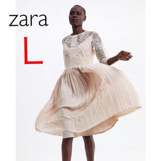 ZARA - 新品 ザラ 刺繍 レース プリーツ  ワンピース フラワー