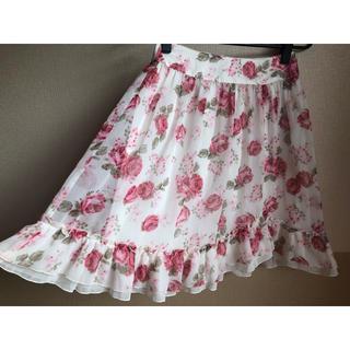 L'EST ROSE - レストローズ  定番🌹薔薇柄🌹膝丈フレアスカート