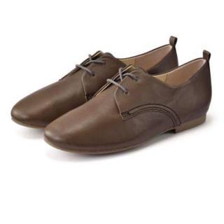 ムジルシリョウヒン(MUJI (無印良品))の無印 レザーレースアップシューズ 23.5cm・グレー(ローファー/革靴)