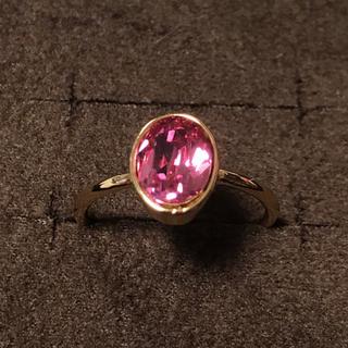 スワロフスキー(SWAROVSKI)の新品スワロフスキーオーバルリング13号指輪ハンドメイドローズ色(リング(指輪))