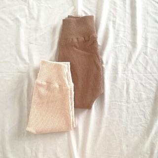 SALE ▫▪韓国子供服▪▫新品 リブレギンス パンツ アイボリー ブラウン