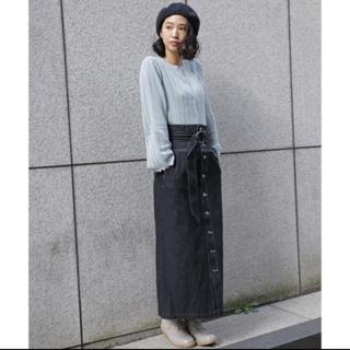 mysty woman - ブラックデニムナロースカート