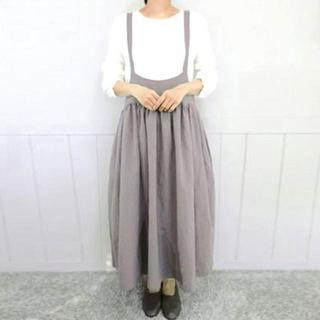 新品☆5XL(大きいサイズ)グレー★サロペット風可愛いロングスカート(ロングスカート)