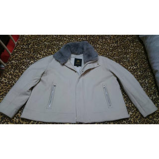 Drawer - ドゥロワー取り外しムートンファー襟付ゆったりショートコートジャケット