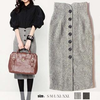 S~XXL/大きいサイズ ひざ丈タイトスカート 秋冬 (ひざ丈スカート)
