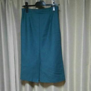 ナチュラルビューティーベーシック(NATURAL BEAUTY BASIC)のNATURAL BEAUTY BASICグリーン前スリットスカート(ロングスカート)