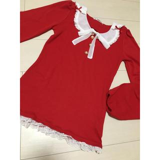 ユメテンボウ(夢展望)の夢展望 リボンカットソー 長袖 赤 レッド 美品(Tシャツ/カットソー(七分/長袖))