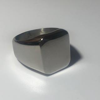 印台 16号 ハンコ 四角 スクエア 指輪 ギフト メンズ  シルバー 銀色