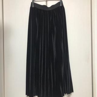 黒 ベロア生地  ロングスカート(ロングスカート)