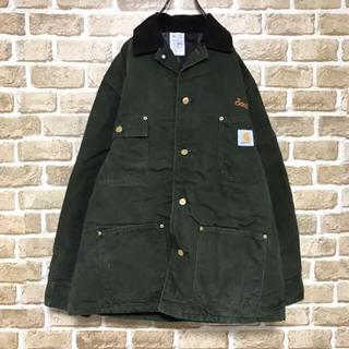カーハート(carhartt)のカーハート ダックジャケット USA製  ビッグ刺繍 グリーンカバーオール(カバーオール)