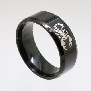サソリステンレスリング ブラック 17号 新品 クリックポスト送料無料(リング(指輪))