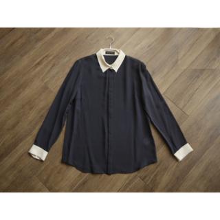 TOMORROWLAND - トゥモローランドコレクション シルク100クレリックシャツブラウス ネイビー