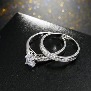 13号2ピースセットAAA級CZダイヤモンド/インレイシルバーリング(リング(指輪))
