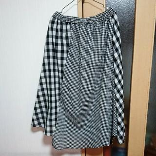 【新品】チェック ブロック ロングスカート マキシ丈 スカート 3L 変形 (ロングスカート)
