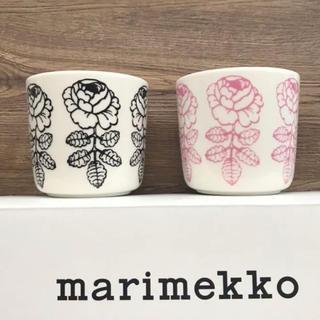 marimekko - マリメッコ  ヴィヒキルース  ラテマグ  ピンク、ブラック