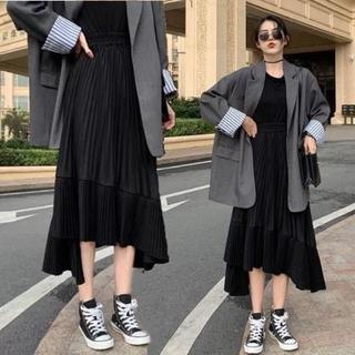 アシンメトリー 細プリーツ スカート 【ブラック/フリーサイズ】(ロングスカート)
