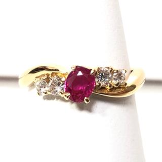 【超美品】0.50ct天然ルビー、0.31ctダイヤモンド付、K18金 指輪(リング(指輪))