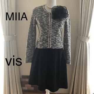ViS - MIIA ノーカラージャケット vis フレアースカート