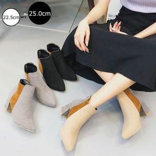 ☆美脚と歩きやすさが揃った♪スエード調太ヒールショートブーツ/全3色(ブーツ)