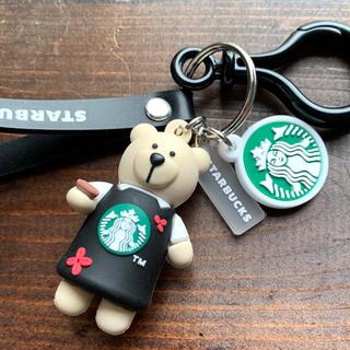 Starbucks Coffee - スターバックス☆珈琲ベア店員☆キーホルダー ストラップ・ブラック