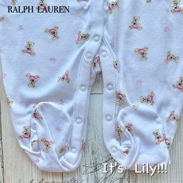 Ralph Lauren(ラルフローレン)の6m70cm ラルフローレン BABY 長袖ロンパース フラグベア ピンク  キッズ/ベビー/マタニティのベビー服(~85cm)(ロンパース)の商品写真