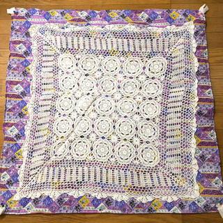 ハンドメイド handmade クロシェ編み パッチ マット 紫 ビーズ お花