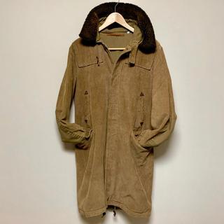 ヴィンテージ風 ロングコート コーデュロイ ブラウン シングルブレスト 茶色