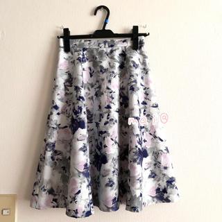 JUSGLITTY - 美品‼︎ 膝丈スカート 花柄 フラワー ネイビー