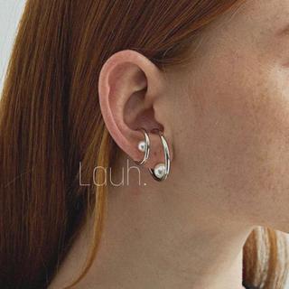 Ameri VINTAGE - j306.large pearl hoop ear cuff(silver)