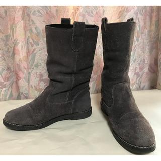 スエードショートブーツ サイズ35(22〜22.5cm)イタリア製 グレー(ブーツ)