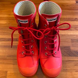 ハンター(HUNTER)のハンター レイン ブーツ 赤 レースアップ 美品(レインブーツ/長靴)