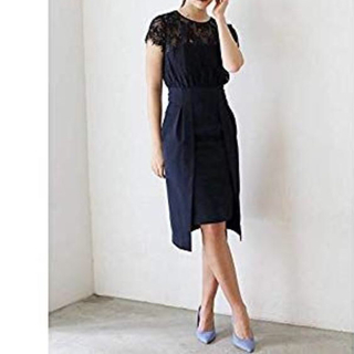 ラグナムーン(LagunaMoon)のT01114/LAGUNAMOON LADYレイヤードレースタイトドレスs(ひざ丈ワンピース)