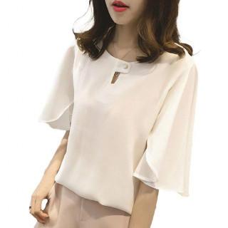 XL ホワイトブラウス シフォン フォーマル 通勤 オフィス ゆったり おしゃれ(シャツ/ブラウス(半袖/袖なし))