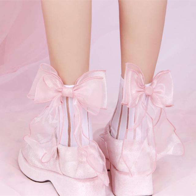 ☆ふんわりシフォンリボンソックス♡ゆめかわいい♡to alice♡アマベル レディースのレッグウェア(ソックス)の商品写真