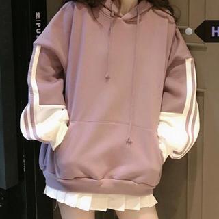 残8点 流行りのくすみピンク♡ライン入りビッグパーカー♡100円引きまでOK