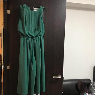 ラグナムーン(LagunaMoon)のラグナムーン グリーンワイドパンツドレス(その他ドレス)