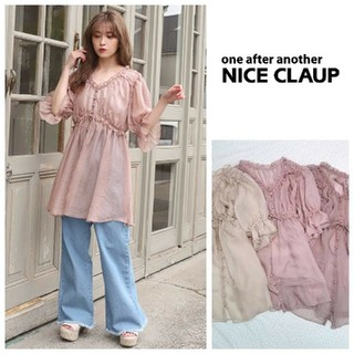 one after another NICE CLAUP - 人気完売♡タグ付き ナイスクラップのシフォンヴィンテージチュニック くすみピンク