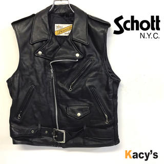 schott - 美品 80's schott ダブルライダース レザーベスト ブラック メンズM