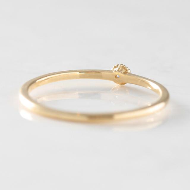 K18 6本爪×ミル 一粒ダイヤモンド ゴールド リング レディースのアクセサリー(リング(指輪))の商品写真