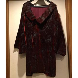 レトロシックでかわいいベロア地着物用コート和装コート★黒にワイン色の菊★中古美品