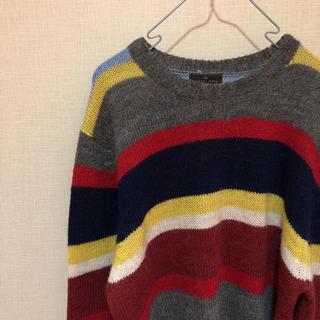 ジーユー(GU)の【フォロー割あり!】GU マルチカラー ボーダーニットセーター XLサイズ(ニット/セーター)