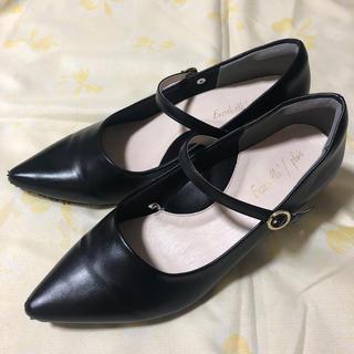 黒 ベルト付き パンプス ブラック (ハイヒール/パンプス)