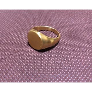 ゴールド 艶消し ヘアライン 円形 印台 指輪 売筋 メンズ リング