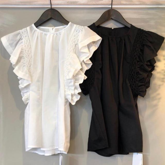 FRAY I.D(フレイアイディー)の新品 タグ付き フレイアイディー ブラウス レース 白 ホワイト レディースのトップス(シャツ/ブラウス(半袖/袖なし))の商品写真