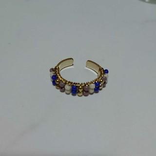 8号ブルー系ビーズ編みゴールド色リング 新品未使用(リング(指輪))