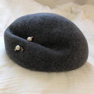 ランバンオンブルー(LANVIN en Bleu)の未使用♡ランバンオンブルー ベレー帽 グレー(ハンチング/ベレー帽)