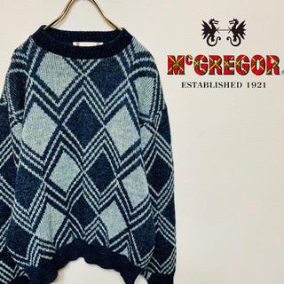 マックレガー(McGREGOR)のマックレガー ニット セーター 総柄 グレー L 90s VINTAGE 古着(ニット/セーター)