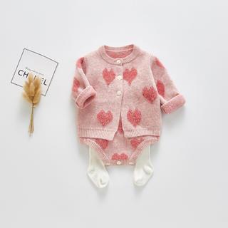 familiar - 新品未使用 韓国子供服 バレンタインに♡ ハート柄カーディガン&ロンパースセット