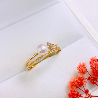 K18 天然あこやパール ダイヤモンド リング(リング(指輪))